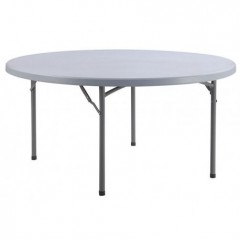 Table ronde 8 pers diam 152 cm gris pied repliable en location